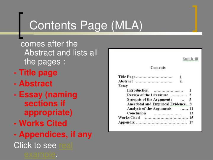 Contents Page (MLA)