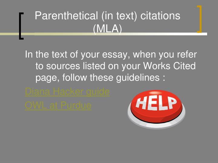 Parenthetical (in text) citations (MLA)