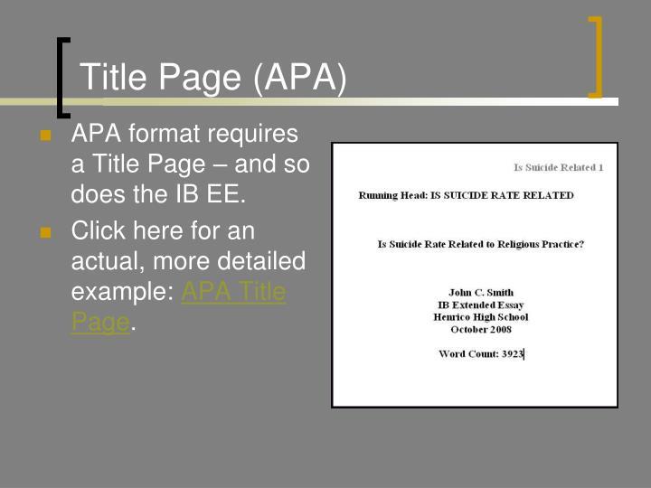 Title Page (APA)