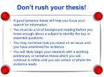 don t rush your thesis