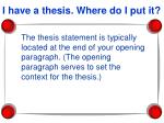 i have a thesis where do i put it