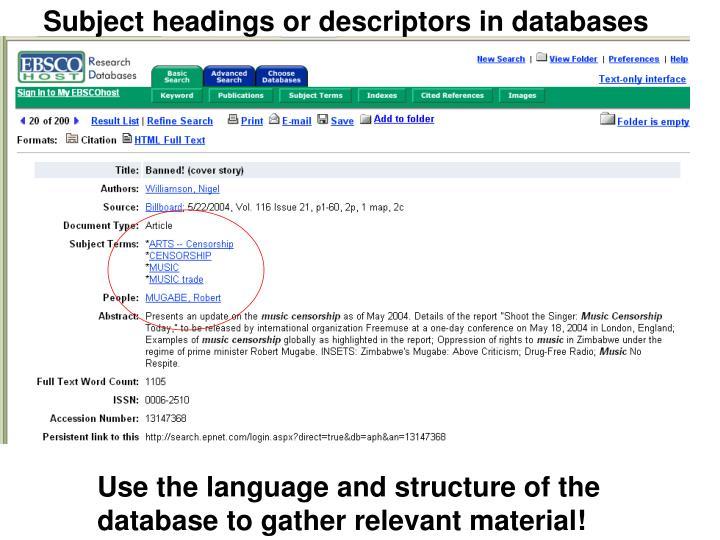 Subject headings or descriptors in databases