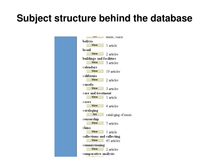 Subject structure behind the database