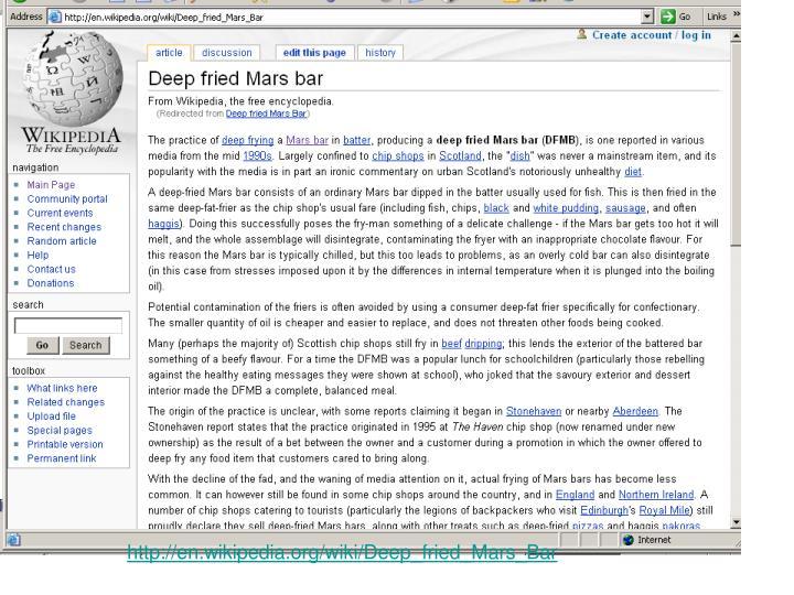 http://en.wikipedia.org/wiki/Deep_fried_Mars_Bar