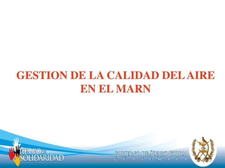 GESTION DE LA CALIDAD DEL AIRE EN EL MARN
