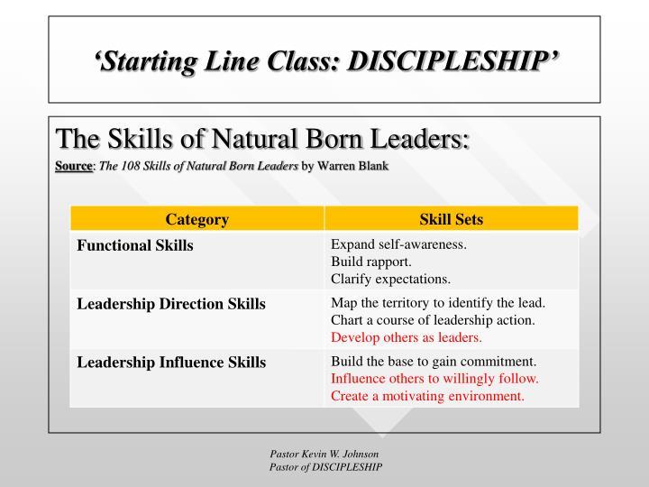 'Starting Line Class: DISCIPLESHIP'