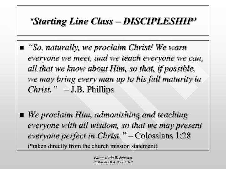 'Starting Line Class – DISCIPLESHIP'