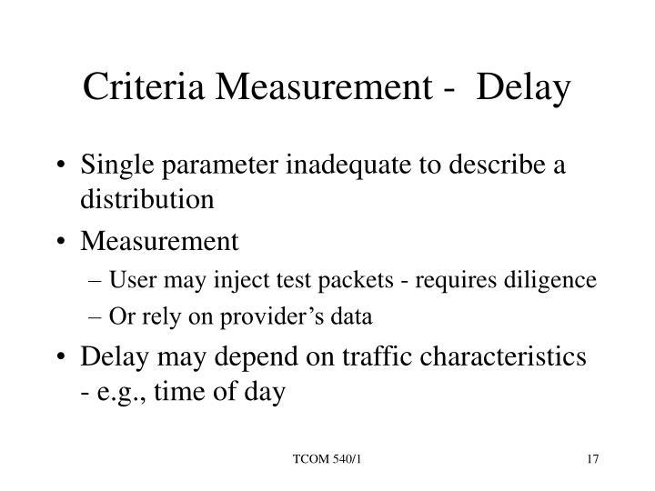 Criteria Measurement -  Delay