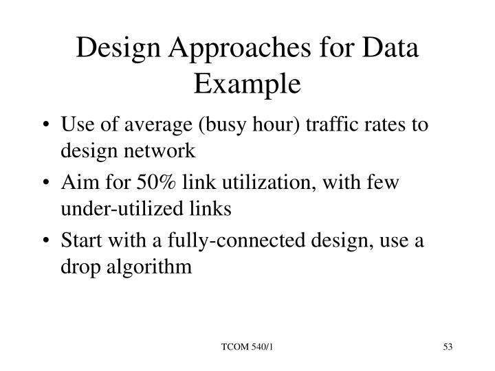 Design Approaches for Data Example