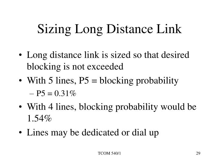 Sizing Long Distance Link