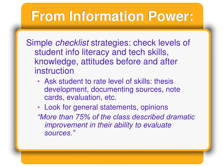 From Information Power:
