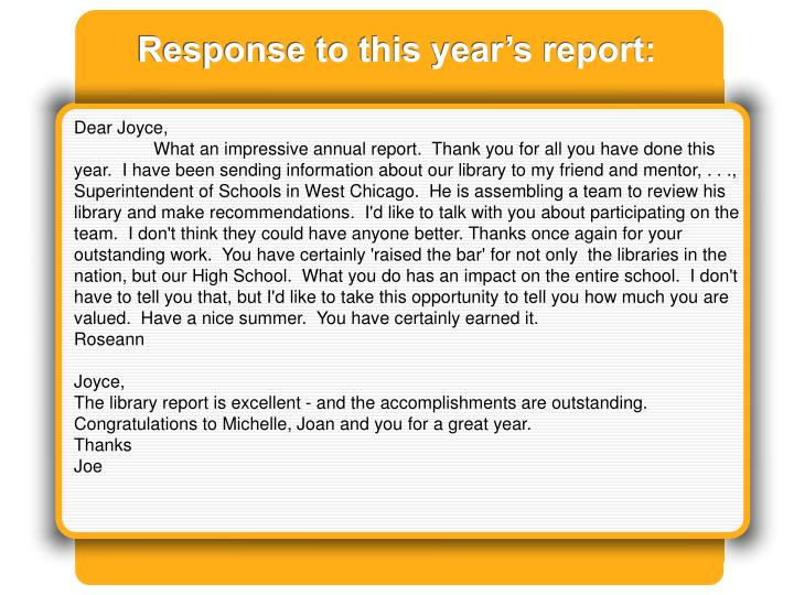 Response to this year's report: