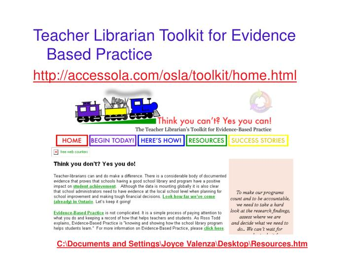 Teacher Librarian Toolkit for Evidence Based Practice