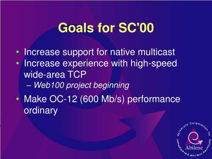 Goals for SC'00
