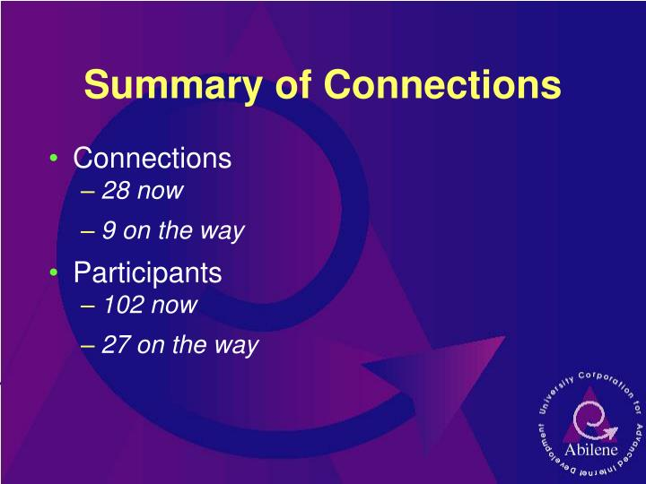 Summary of Connections