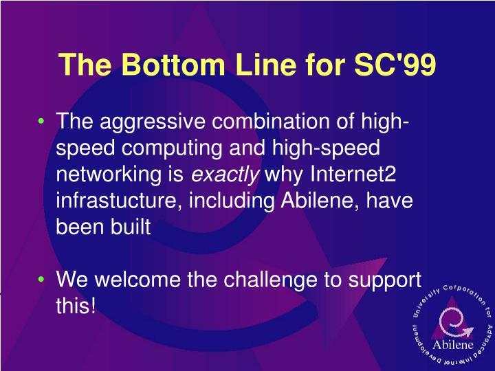 The Bottom Line for SC'99