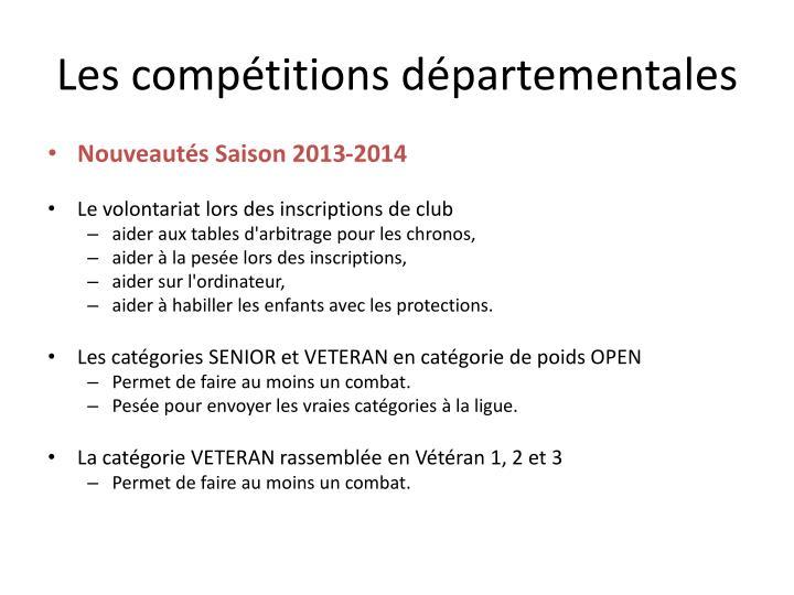 Les compétitions départementales