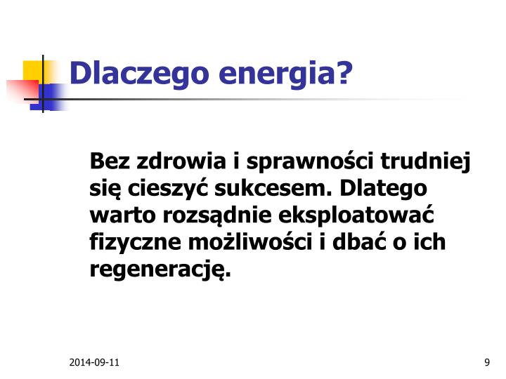 Dlaczego energia?