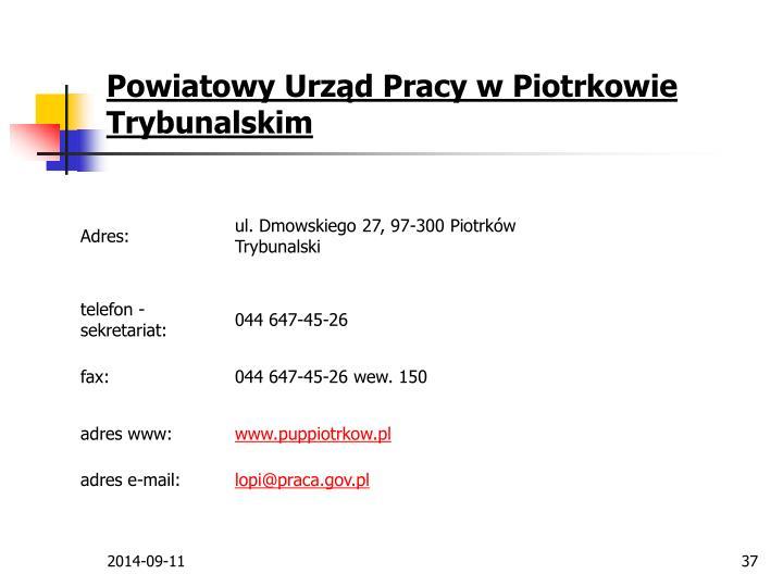 Powiatowy Urząd Pracy w Piotrkowie Trybunalskim