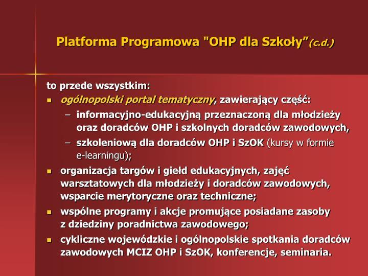 """Platforma Programowa """"OHP dla Szkoły"""""""