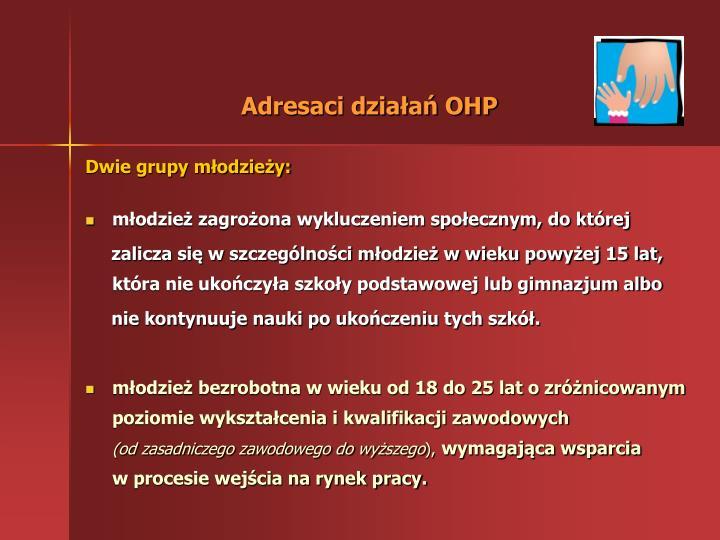 Adresaci działań OHP