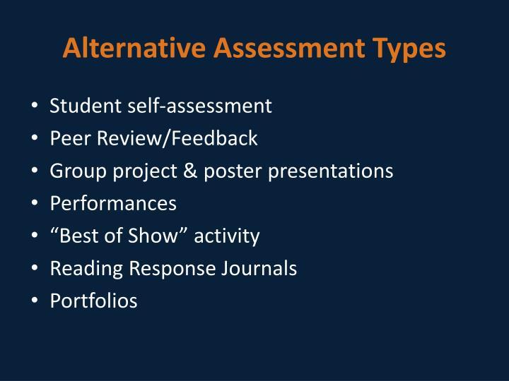 Alternative Assessment Types