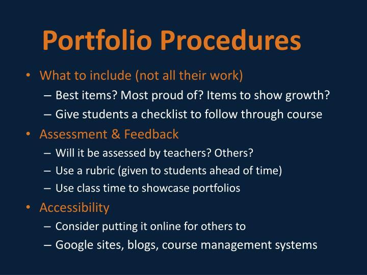 Portfolio Procedures