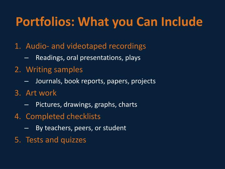 Portfolios: What you Can Include
