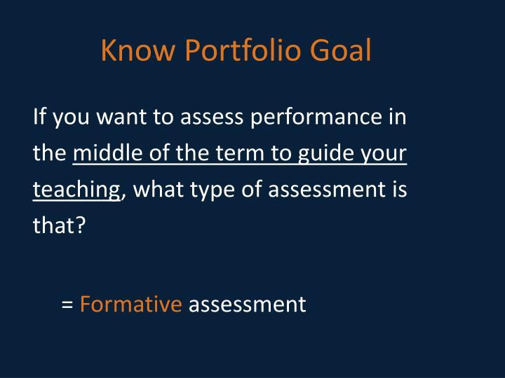 Know Portfolio Goal