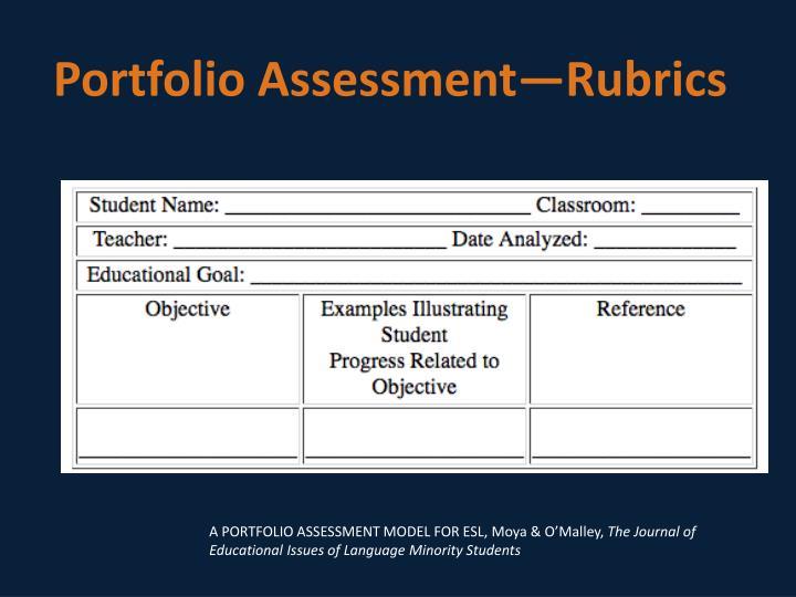 Portfolio Assessment—Rubrics
