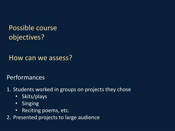 Possible course objectives?