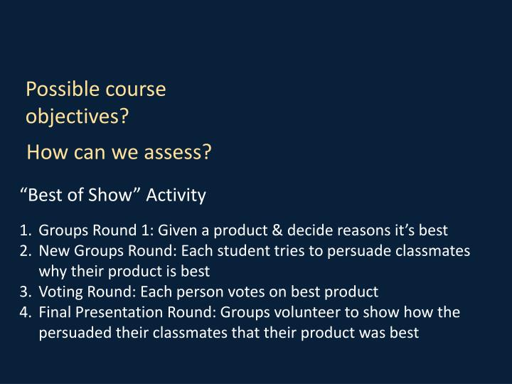 Possible course objectives