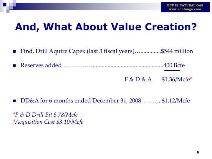 And, What About Value Creation?