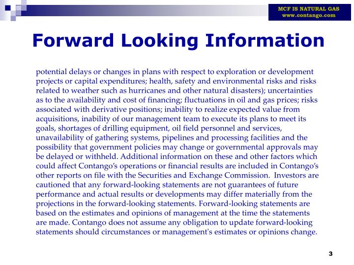 Forward looking information1