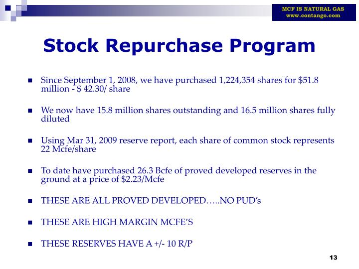 Stock Repurchase Program