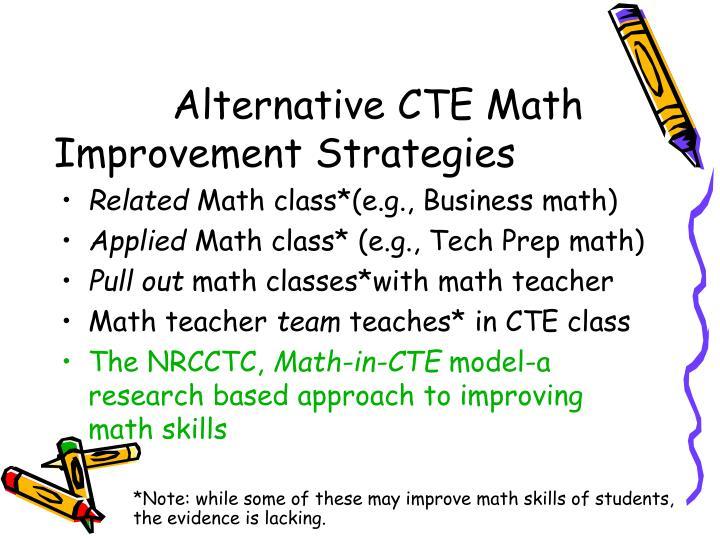 Alternative CTE Math Improvement Strategies