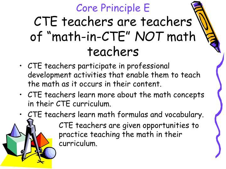 Core Principle E