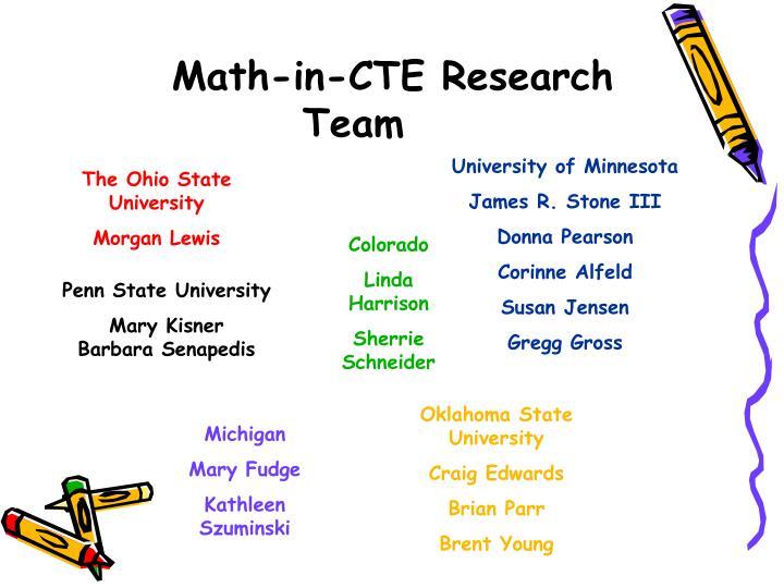 Math-in-CTE Research Team