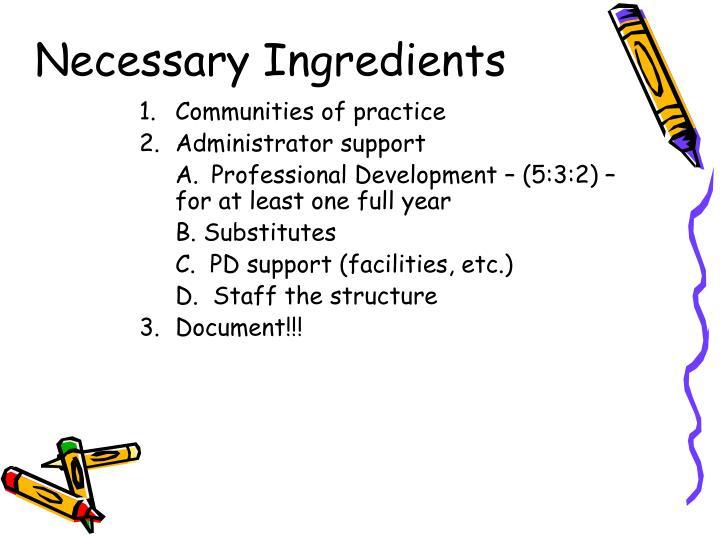 Necessary Ingredients