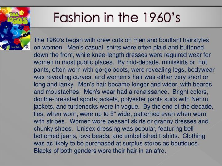 Fashion in the 1960's
