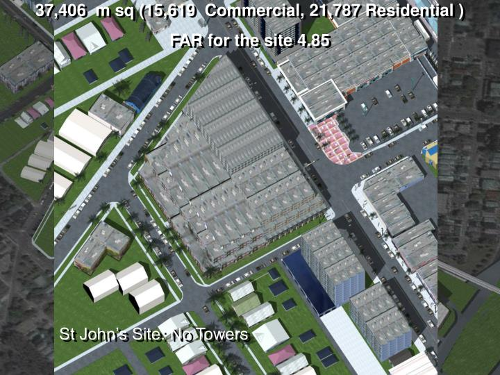 37,406  m sq (15,619  Commercial, 21,787 Residential )