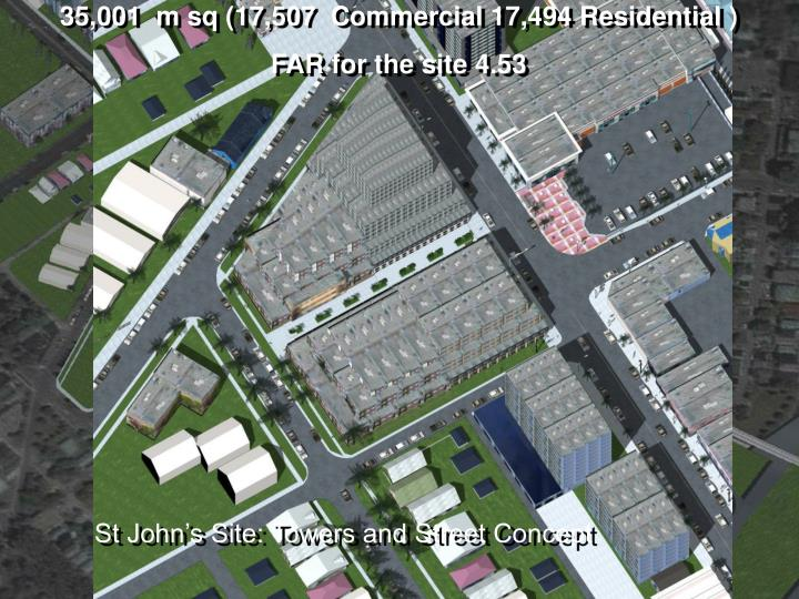 35,001  m sq (17,507  Commercial 17,494 Residential )