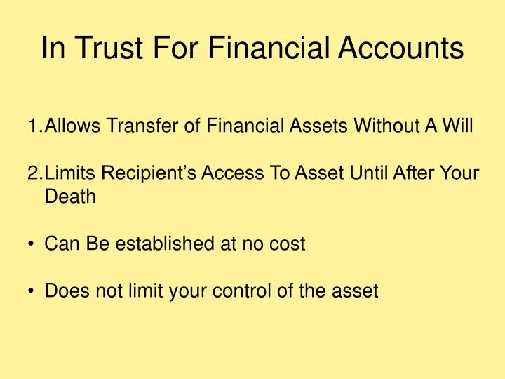 In Trust For Financial Accounts