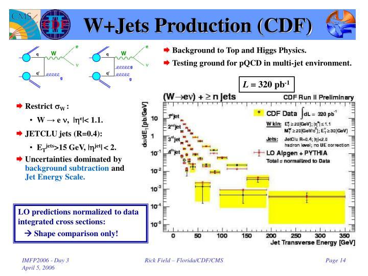 W+Jets Production (CDF)