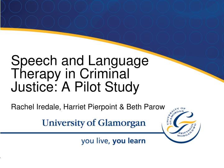 Speech and Language Therapy in Criminal Justice: A Pilot Study