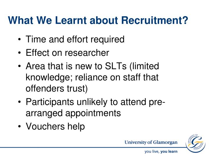 What We Learnt about Recruitment?