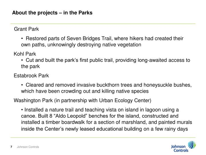 About the projects – in the Parks