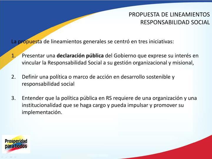 PROPUESTA DE LINEAMIENTOS RESPONSABILIDAD SOCIAL