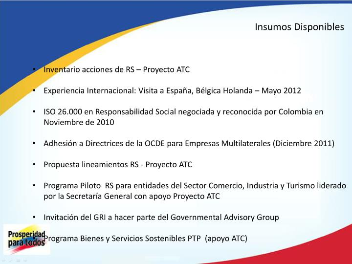 Insumos Disponibles
