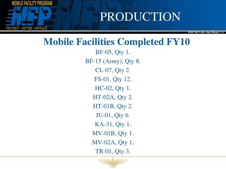 Mobile facilities completed fy10